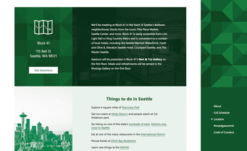 The location site section, with suggestions for things to do in Seattle