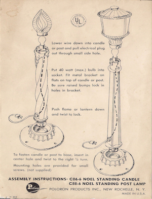 Poloron Products Noel Standing Candle #C86-6, Noel Standing Post Lamp #C88-6 Instruction Manual.pdf preview