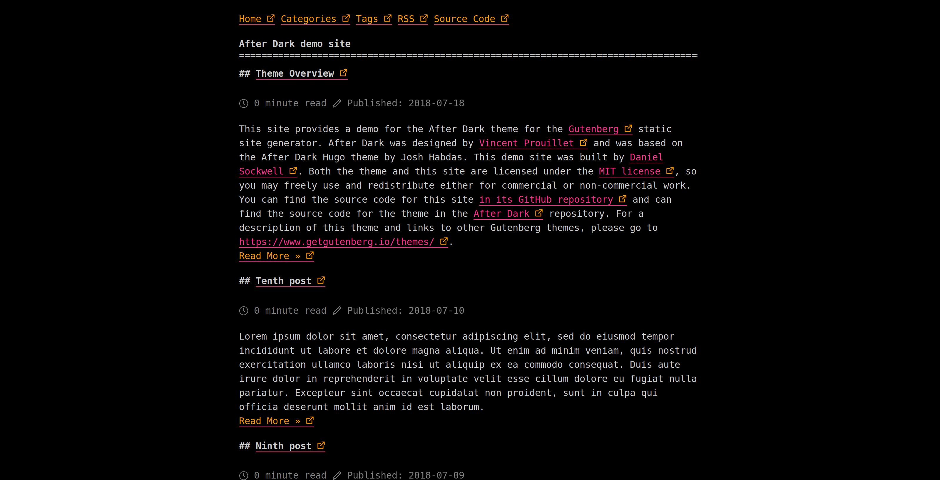 Screenshot of After Dark theme