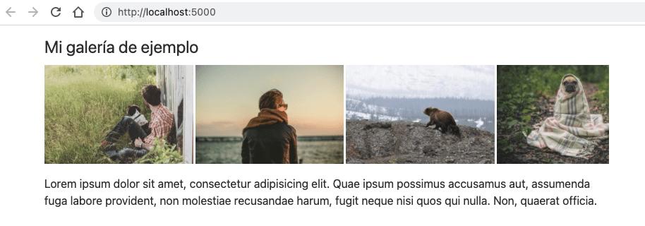 Galería de imágenes de 140px de alto y separadas 3px