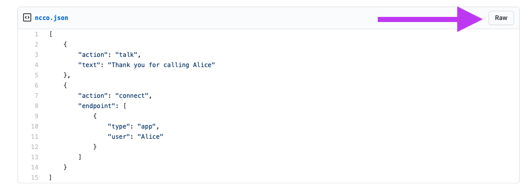 The Raw button as show in a GitHub Gist