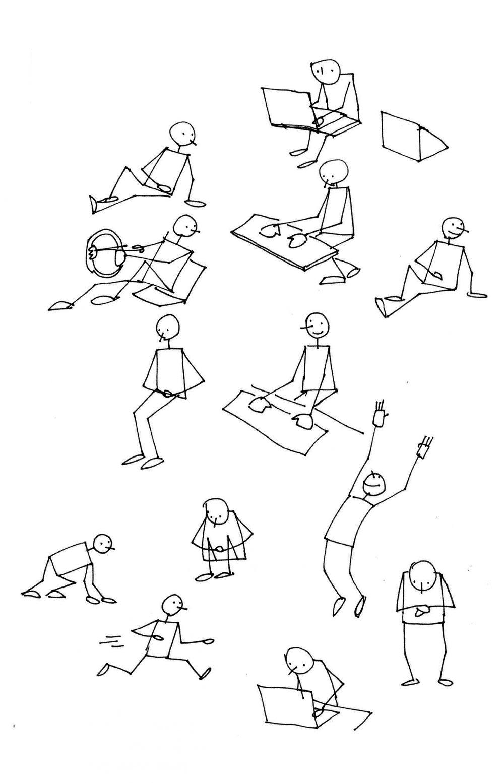 le corps humain dans diverses positions et situations