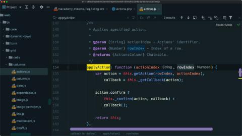 Make an entire admin grid row into a clickable action