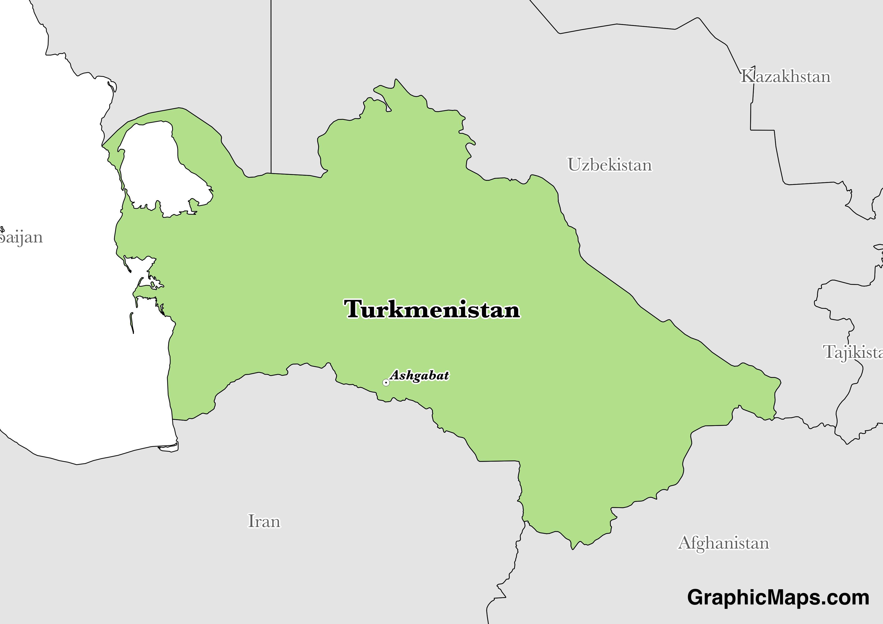 Turkmenistan GraphicMapscom - Turkmenistan map
