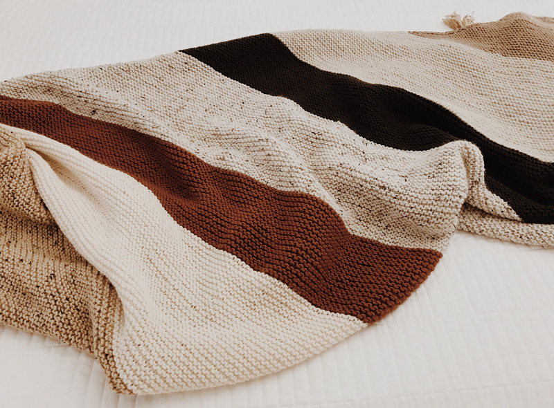 A striped knitted blanket