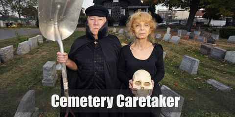 A cemetery caretaker costume is a white long-sleeved shirt, a black overall jumpsuit, a black ivy cap, and black boots. For female, she should wears a simple black dress and high heels.