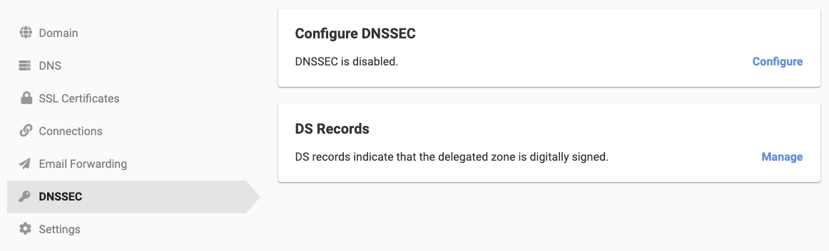 Access DNSSEC through the DNSSEC tab on your domain management page