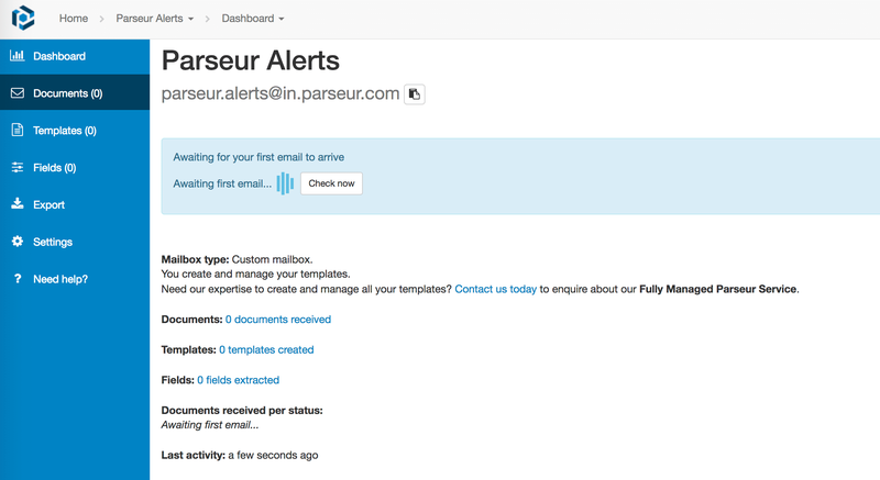 Parseur awaits you to forward your first email