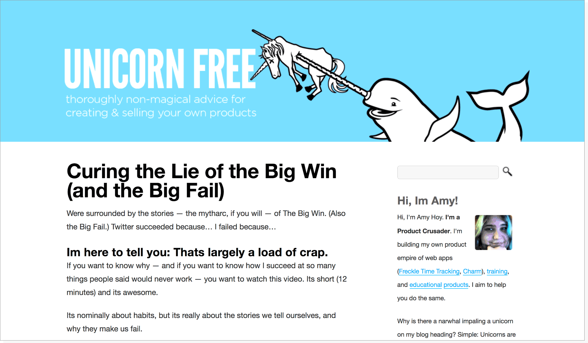 screenshot of the old, old Unicorn Free site