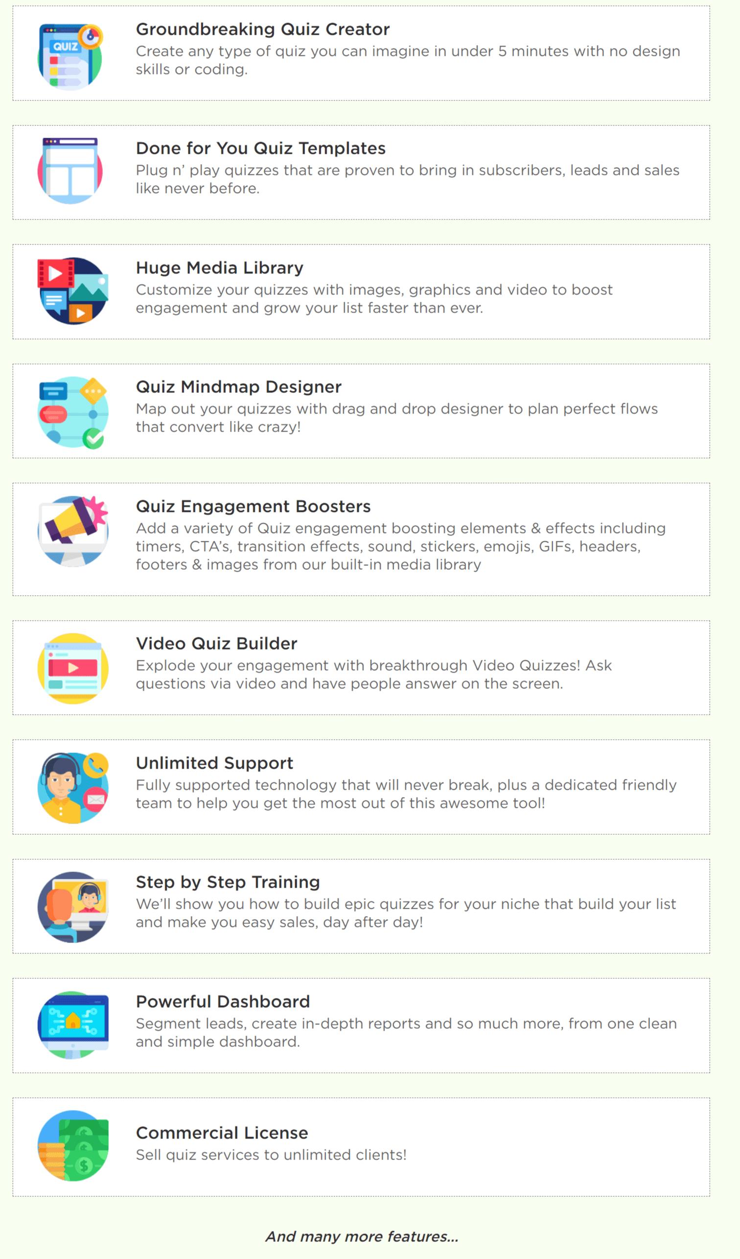 quiz builder features
