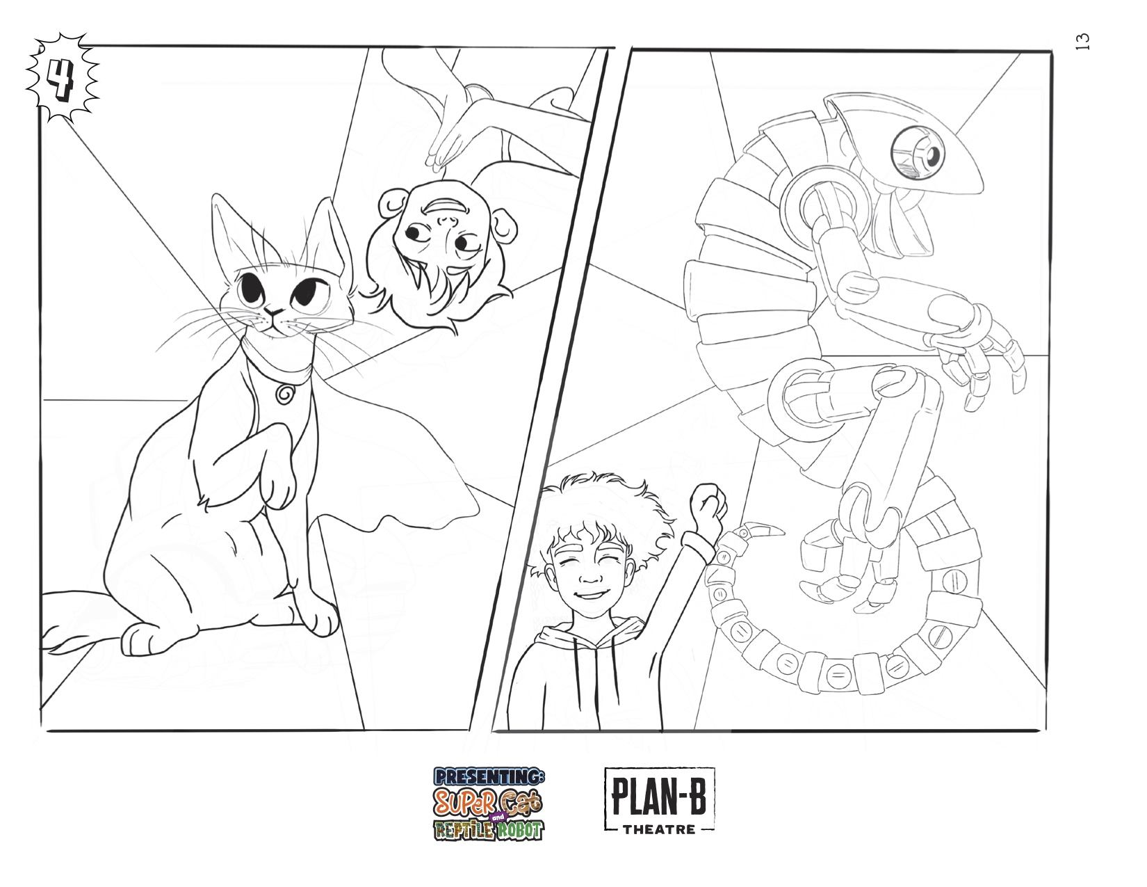 PRESENTING: SUPER CAT & REPTILE ROBOT coloring page with all male cast.