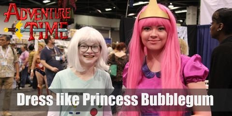 Princess Bubblegum has a long pink hair and wears a long pink princess gown with her signature tiara.