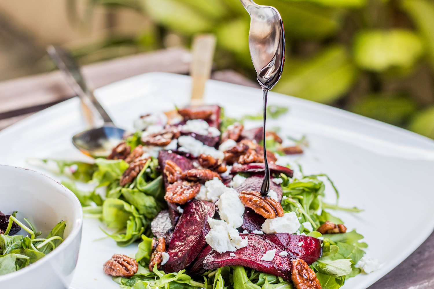 Roasted balsamic beet salad with goat cheese and caramelised pecans