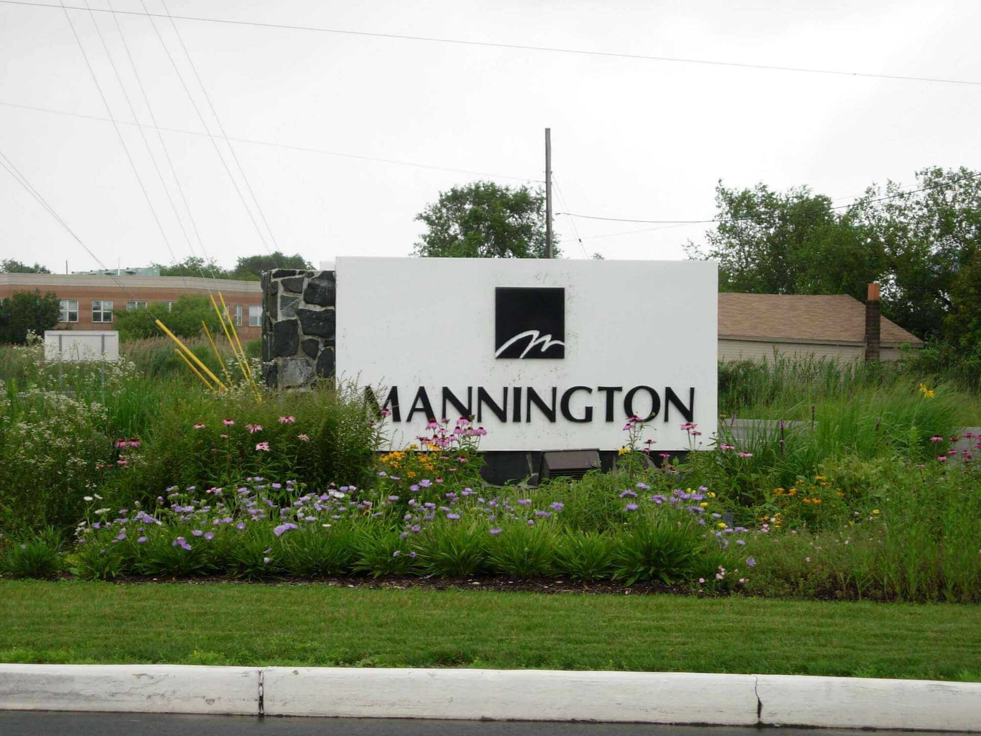 mannington mills sign next to street