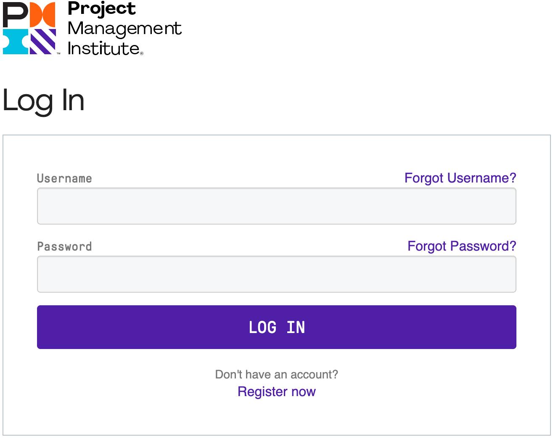 PMI Login Page