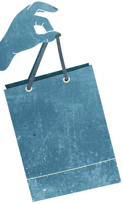 a decorative shopping bag referencing the retail shopping available at the Brick & Mortar District at Plum Creek in Kyle, TX
