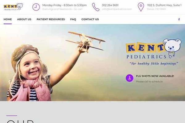 Kent Pediatrics Website Screenshot