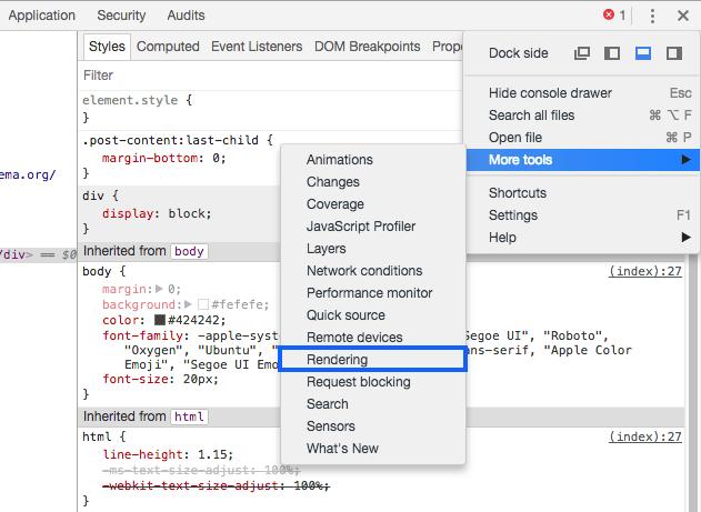 Enable Chrome DevTools Rendering