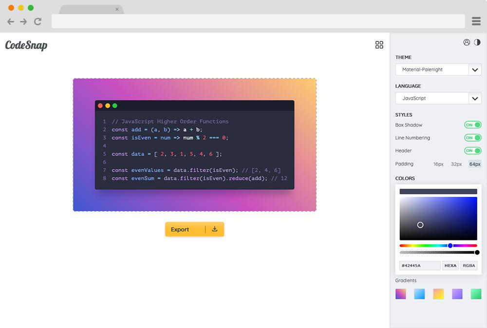 CodeSnap Project Screenshot