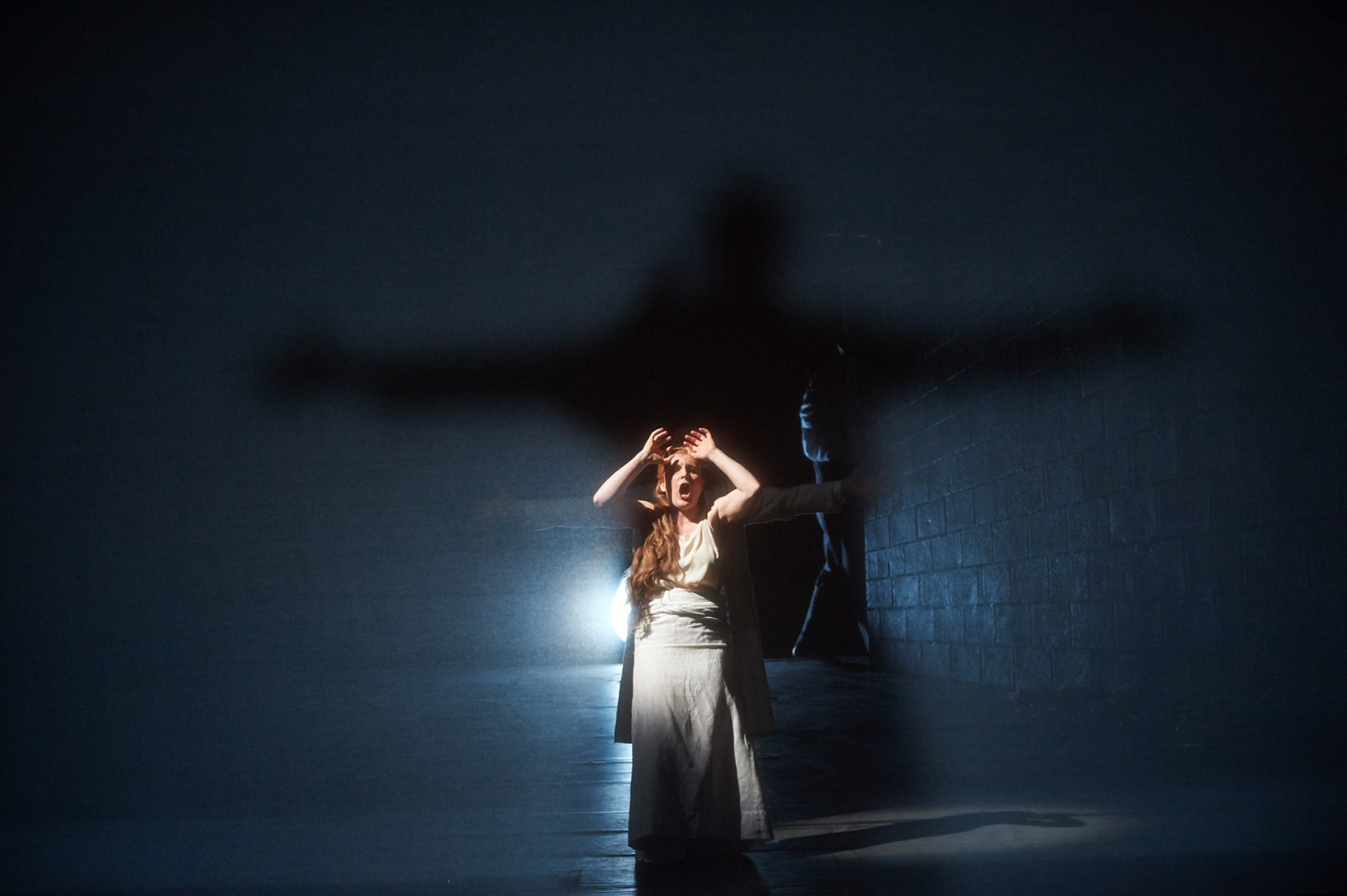 Woman in white dress kneels backlit with giant, arms-outstretched shadow behind.