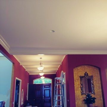 red walls and white ceiling room