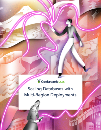 Scaling Databases with Multi-Region Deployment cover image of man holding phone standing on abstract background