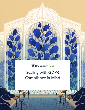 GDPR Compliance cover image of stone building filled with abstract blue shapes