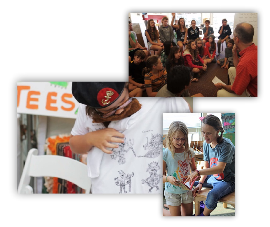 Collage of students playing and learning at Acton