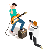 Shooting a person playing the guitar