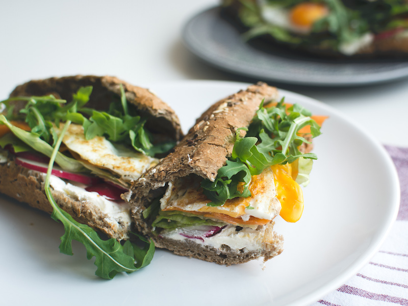 Healthy baguette with egg and vegetables