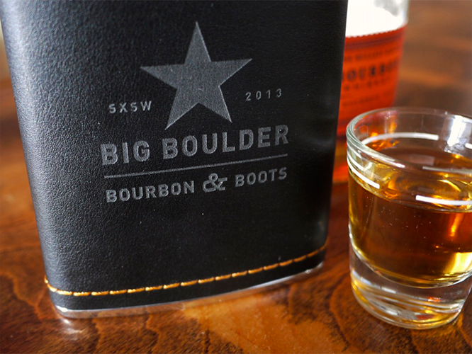 Boots, Bourbon, Big Boulder Whiskey Flask