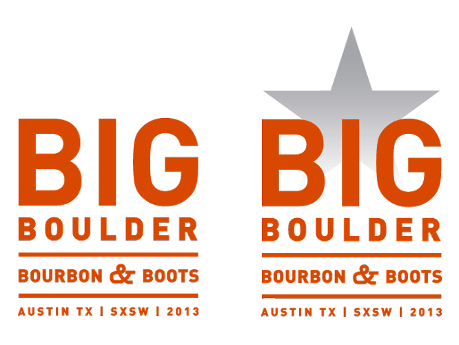 Boots, Bourbon, Big Boulder Logos