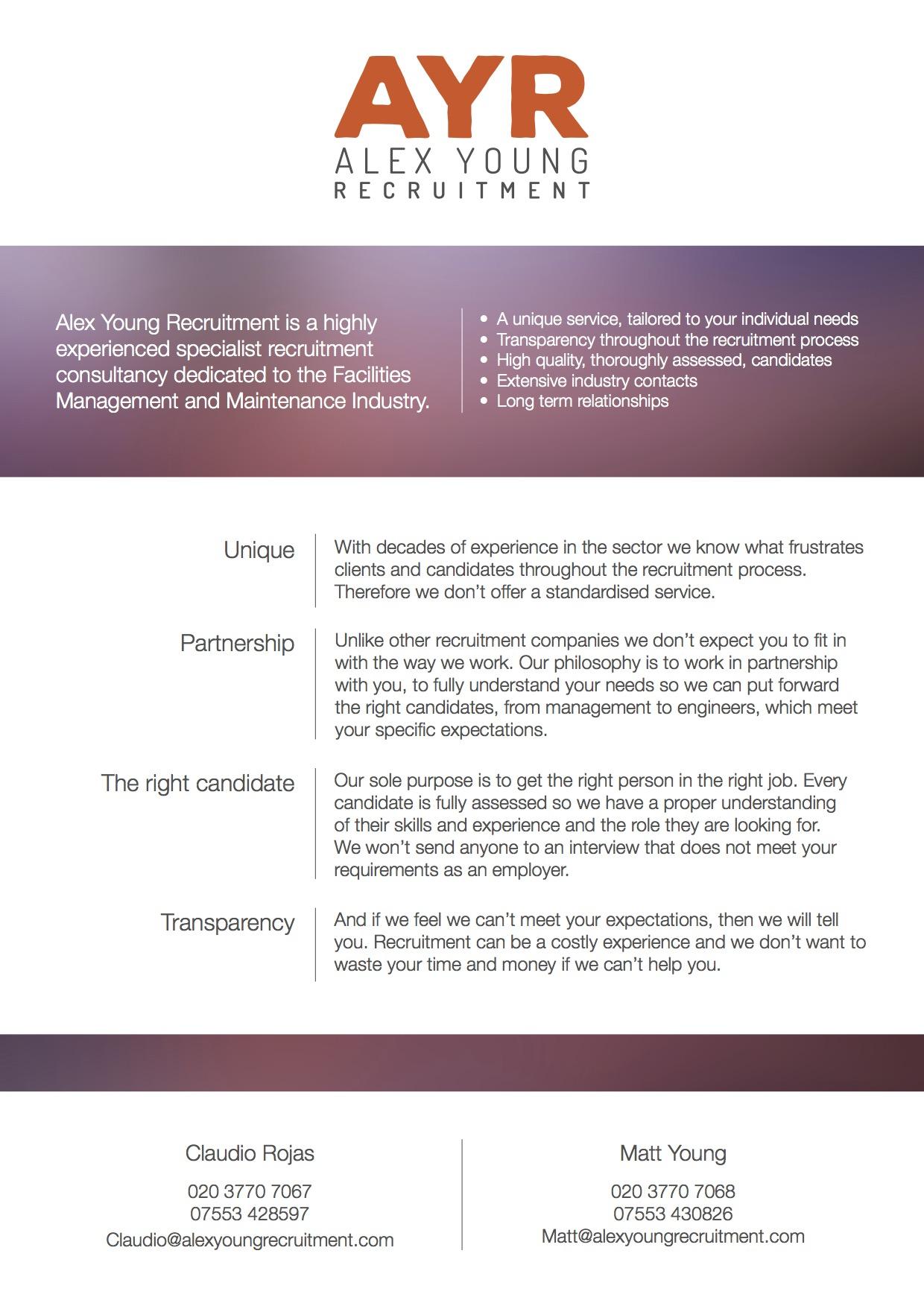 Alex Young Recruitment Leaflet