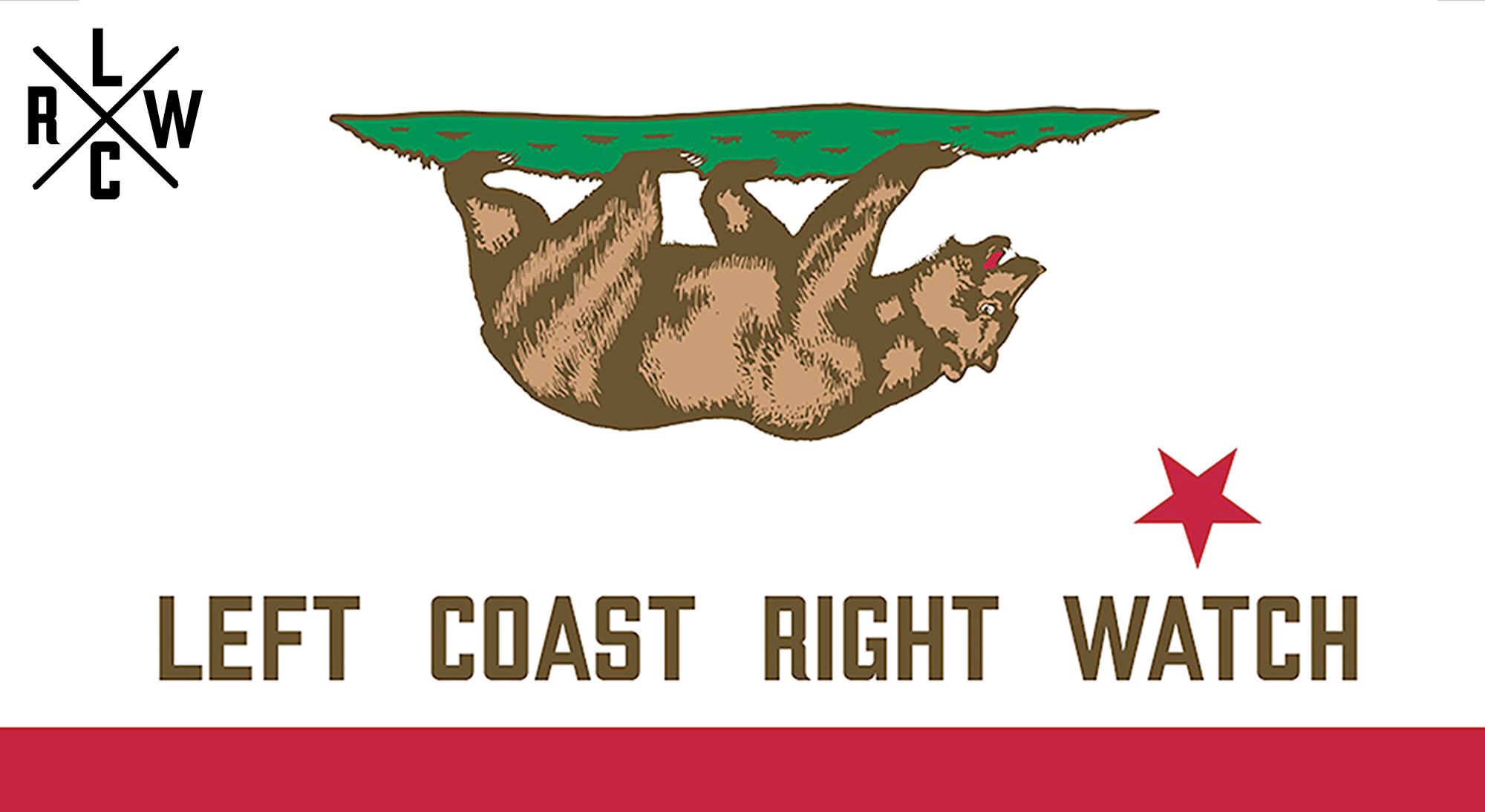 LCRW logo showing the the Californian flag with the bear and star turned upside down and Left Coast Right Watch